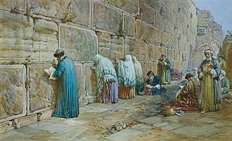 William Simpson 1823-1899 (British) The Jew's wailing place, Jerusalem, 1896 watercolor on paper