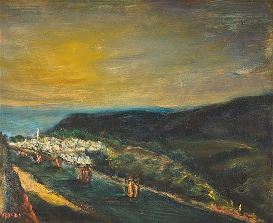 Yitzhak Frenkel Frenel 1899-1981 (Israeli) Figures on the road to Tiberias, 1930s oil on canvas