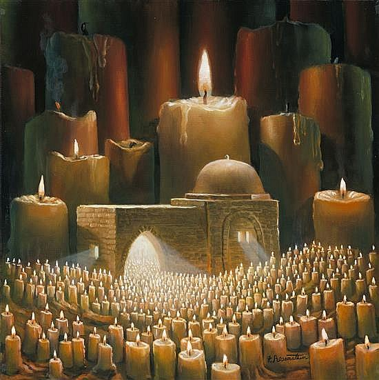 Yossi Rosenstein b.1950 (Israeli) Thy word is a lamp to my feet, and a light to my path (Psalm 119,105) oil on canvas