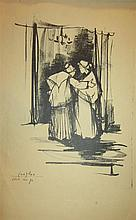 Esther Peretz Arad 1921-2005 (Israeli) Women in interior, 1956 lithograph
