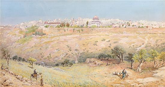 Henry Andrew Harper 1835-1900 (British) Jerusalem, 1893 watercolor and gouache on cardboard