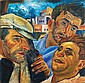 Eliahu Sigard 1901-75 (Israeli) Three figures in urban landscape, 1927 oil on board, Eliahu Sigard, Click for value