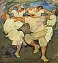 Saul Raskin 1878-1966 (American) Hora oil on paper mounted on cardboard, Saul Raskin, Click for value