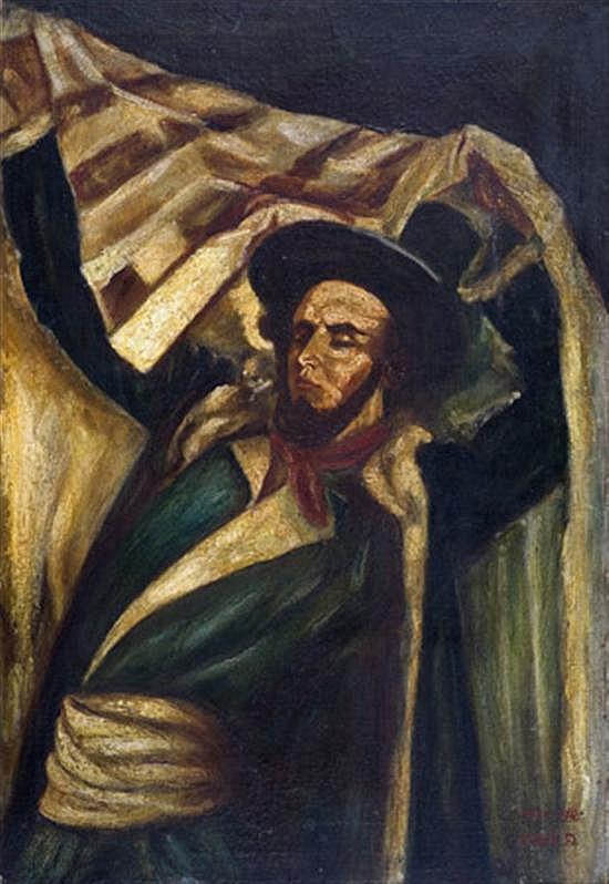 Baruch Agadati 1895-1976 (Israeli) Rabbi with talith, 1939-1945 oil on canvas