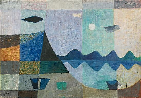 Avraham Naton 1906-1959 (Israeli) Seascape with boats, 1952 oil on canvas