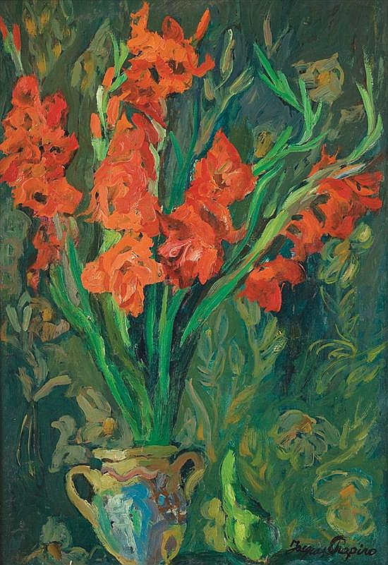 Jacques Chapiro 1887-1972 (Bielorussian, French) Red Gladioluses oil on canvas