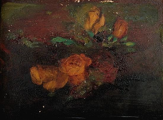 Vilma Parlaghy 1863-1923 (Hungarian, American) Roses on a table oil on panel