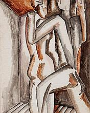 **Ossip Zadkine 1890-1967 (Russian, French) Couple, c.1923 gouache on paper