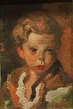 **Luigi Corbellini 1901-1968 (Italian) Portrait d'enfant oil on canvas