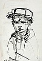 Ruth Schloss b.1922 (Israeli) Boy india ink on paper
