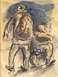 Yosl Bergner b.1920 (Israeli) Two figures watercolor and pencil on paper