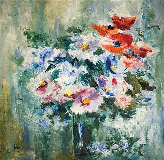 Heddy Kun b. 1932 (Yugoslavian, Israeli) Bouquet of flowers, 1965 oil on canvas