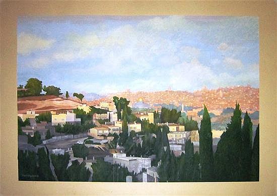 Itzhak Pressburger b. 1933 (Israeli) Jerusalem landscape gouache on paper