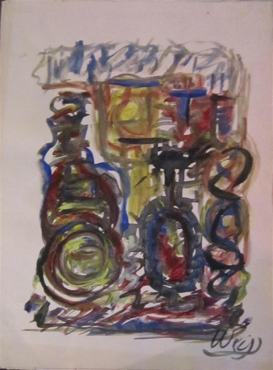 Aryhe Weiss (Israeli) Abstract, lot includes 3 drawings watercolor on paper