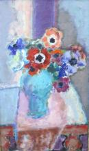 **Nicolas Issaiev 1891-1977 (Ukrainian, French) Anemones in a blue vase oil on canvas