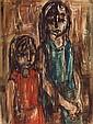 Ruth Schloss b.1922 (Israeli) Two girls oil on masonite