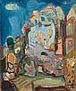 Mordechai Levanon 1901-1968 (Israeli) Safed, 1958 oil on canvas