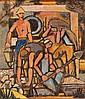 Yohanan Simon 1905-1976 (Israeli) Figures in the Kibbutz, 1950 oil on masonite