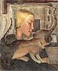 Kaete Ephraim Marcus 1892-1970 (Israeli) Girl with a cat oil on canvas