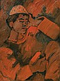 Pinchas Litvinovsky 1894-1984 (Israeli) Arab boy with cap, late 1920's oil on canvas