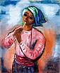 **Reuven Rubin 1893-1974 (Israeli) Flute player, 1970 oil on canvas