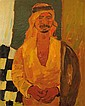 Pinchas Litvinovsky 1894-1984 (Israeli) Portrait of Arab man in kaffiyah, 1920's oil on canvas