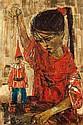 **Ruth Schloss b.1922 (Israeli) Girl with a clown doll, 1962 oil on canvas