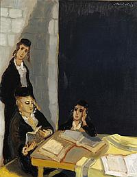 **Mané Katz 1894-1962 (Ukrainian, French) Les etudiants, 1955 oil on canvas
