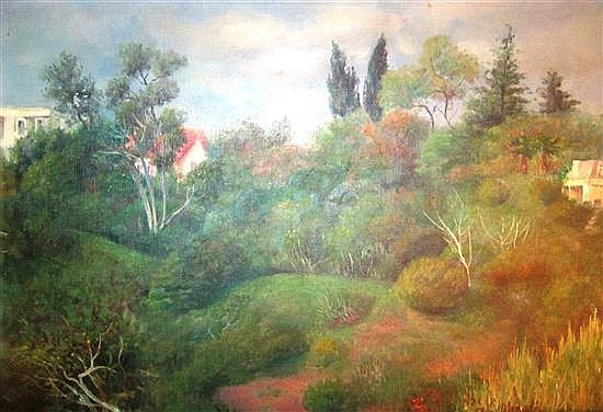 Ann Medalie 1896-1991 (Israeli) Safed landscape oil on canvas