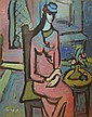 Mordechai Arieli 1909-1993 (Israeli) Woman in a pink dress gouache on paper