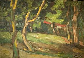 Zvi Shor 1898-1979 (Israeli) Trees and a red house oil on canvas