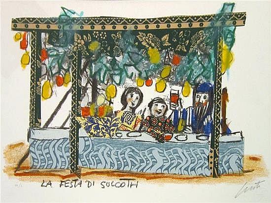 Emmanuele Luzzati 1921-2007 (Italian) La Festa Di Succoth, 2002 hand colored lithograph