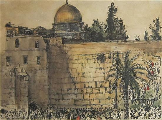 Esther Lurie 1913-1998 (Latvian, Israeli) Jerusalem, 1972 watercolor and pen on paper