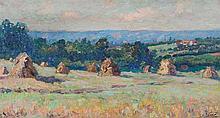 **Emmanuel Victor Auguste Marie de la Villéon 1858-1944 (French) Moissons à Bitry oil on canvas