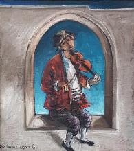 Yosl Bergner 1920-2017 (Israeli) Fiddler in the window oil on canvas
