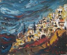 Yitzhak Frenkel Frenel 1899-1981 (Israeli) Safed and the Mountains of Galilee, 1960's oil on canvas