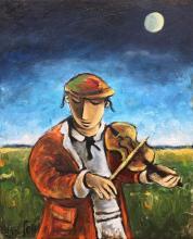 Yosl Bergner 1920-2017 (Israeli) Klezmer oil on canvas