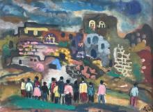 Israel Paldi 1892-1979 (Israeli) Figures in landscape oil on cardboard