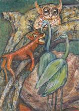 Greta Wolf Krakauer 1890-1970 (Austrian, Israeli) Animals, 1968 oil on cardboard