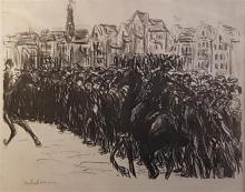 Max Liebermann 1847-1935 (German) Crowds of people in Amsterdam ('Menschenmenge in Amsterdam'), 1912 lithograph