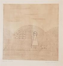 Keiko Minami 1909-2004 (Japanese) La petite Berg?re (The little Shepherd), 1957. (edition of 50) etching and aquatint in colors