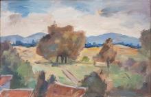 Leo Kahn 1894-1983 (Israeli) Galilee landscape oil on masonite