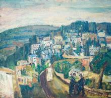 Zvi Mairovitch 1911-1973 (Israeli) On the road to Jerusalem (recto), Houses in Jerusalem (verso) oil on board