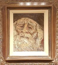 Yitzhak Frenkel Frenel 1899-1981 (Israeli) Rabbi oil on canvas