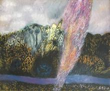 Naftali Bezem b.1924 (Israeli) Cypress oil on canvas