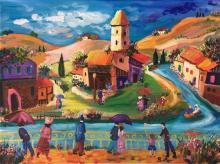 Shlomo Alter b.1936 (Israeli) Village landscape oil on canvas