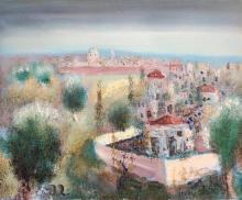 Albert Goldman b.1922 (Israeli) Galilee landscape oil on canvas