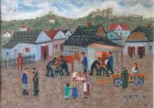 Shmuel Wodnicki 1895- 1980 (Israeli) Childhood Memories- Kuzmir oil on masonite