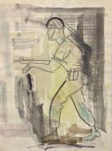 Arieh Lubin 1897-1980 (Israeli) Soldier (recto); Landscape (verso) mixed media on paper
