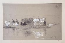 Albert Lebourg 1849-1928 (French) Boat on a lake print